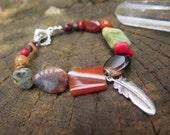 Gemstone Crystal Bracelet - Orange Green Autumn Shades- Boho Stone Jewelry - Bohemian Free Spirited Feather - Earthy Hippie Jewels OOAK