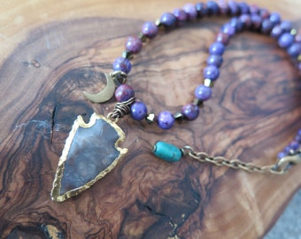 Bohemian Arrowhead Necklace - Purple Agate - Moon Luna Gemstones - Gold Brown Green - Boho Gypsy Good Vibes Jewelry - Free Spirit Hippie