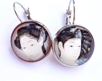 Postage Stamp Earrings - Gift for Her - Japanese Stamp Earrings - Vintage Stamp Jewelry - Japanese Women - Vintage Stamp Jewelry - Japan