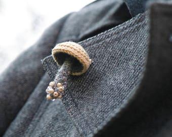 Beaded mushroom crochet pin - whimsical brooch - woodland jewelry
