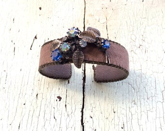 Brown and Blue Adjustable Cuff Bracelet