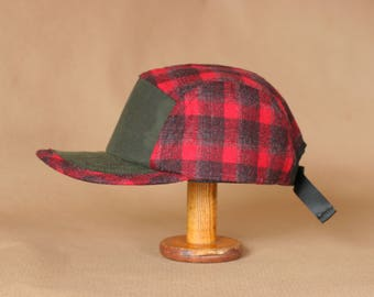 Field Hat | Wool and Waxed Canvas Hat | Red Plaid + Green Waxed Cotton | Unisex Pendelton Wool Cap | 5 Panel Camp Hat