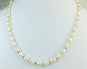 Pearl Necklace Natural White Cultured Freshwater Pearls with Goldplated Spacer Beads 21in Length