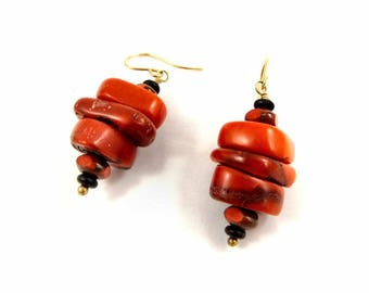 Red Coral Earrings Black and Red Earrings Bamboo Coral Jewelry Gold Filled Dangle Earrings Chunky Earrings Red Earrings Black Earrings