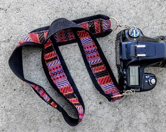 SALE Woven camera strap with red, purple and orange tribal design photography accessory