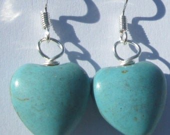 RESERVED FOR MIGAN small rustic turquoise blue heart shaped stone pierced dangle hand made wire wrapped earrings