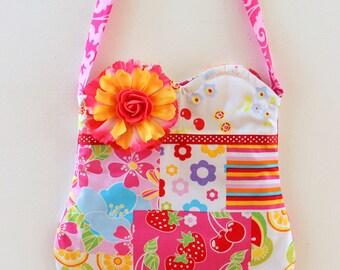 Slice of Summer Purse, floral purse, toddler purse, girls purse, pom pom purse