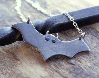 Sterling Silver Bat Necklace - Nature Jewelry, Bat Charm Pendant