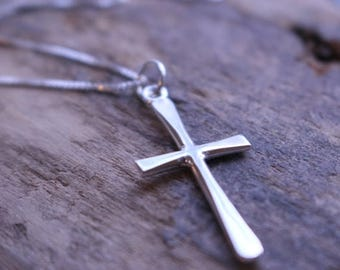 20% OFF Sale Simple Sterling Silver Cross Necklace - Cross Necklace, Religious Jewelry