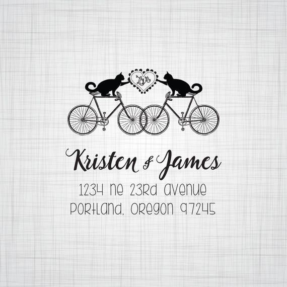 Cats on Bikes Address Stamp, Custom Self Inking Stamp, Custom Wood Mounted Rubber Stamp, Whimsical Wedding Address Stamp, Couples Stamp