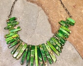 Green jasper Necklace - Big Bold Chunky Spike bead Handmade Necklace OOAK