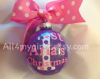 Babys 1st 2nd Christmas Ornament Personalized Custom with Bow Ribbon 3rd Christmas 2016
