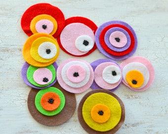 Die cut circles, felt circle appliques, felt flowers, felt appliques, felt patches, round embellishments (10pcs)- GRAB BAG CIRCLES (set 10)