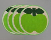 Danish Modern Sodahl Design Green Apple Placemats Set of 4 Made In Denmark Jute Poly Blend Scandinavian Round Placemats