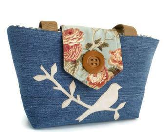 SALE Denim Wayfarer Purse - Bird on a Branch Purse - Handmade Applique - Vegan