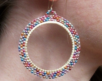 Beaded-Rainbow-Metallic-Gold Hoop-Earrings / Free US Shipping