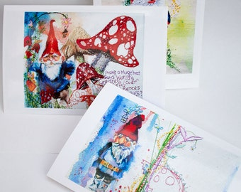 Gnome Watercolour Prints 3 Pack. Garden Gnome Prints. Gnomes. Watercolour Postcards. Gift for Gnome Lovers