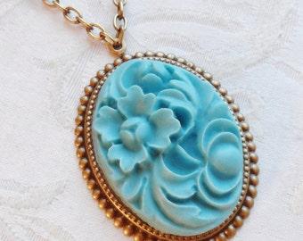 75% Off Sale, Floral Cameo Necklace, Haint Blue Color