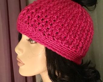 SALE Messy Bun hat Crochet Hat Pink Pussy Hat Messy Bun Hat Crochet Accessories Hat Womens Slouchy Tam Beret Crochet Hat