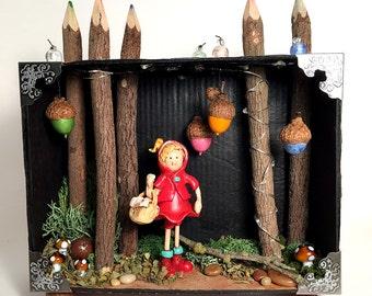Nursery rhyme | Sculpey | Little Red Riding Hood | Easter gift | Fairy Tale | OOAK | Figurine | nic nac | Polymer Clay | Art Doll | Diorama