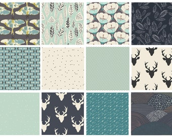 12 FABRIC QUILT BUNDLE - Hello, Bear - Morning Walk - Forest Floor - Art Gallery - Woodland Fabric - Deer Head Forest Mint Navy Mushrooms
