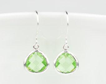 Tiny Peridot Green Silver Earrings, August Birthstone Gold Earrings, Peridot Sterling Silver Earrings, Bridesmaid Earrings