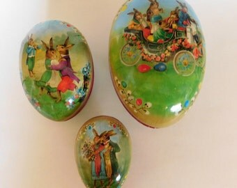 Vintage Paper Mache Easter Eggs Nestler Made in Germany SET of Three Nesting EGGS