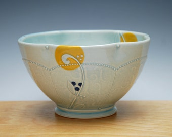 Frost gloss Bowl w. Leaf sprouts & Tangerine and Navy Polka Dots, Serving / dinnerware