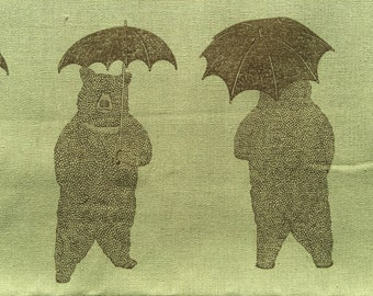 Bears and Umbrellas matcha sage green and brown Japanese cotton linen canvas A4