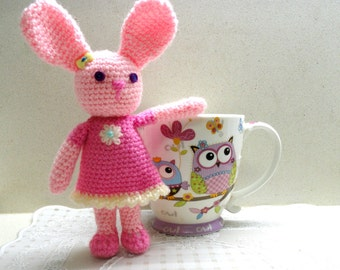 Amigurumi toy bunny small crocheted pink bunny, crocheted toy, amigurumi doll  pets lovers kids baby