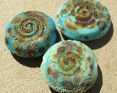 Spiral Earth Stones- Handmade lampwork glass beads- spiral coin  with distressed stone texture