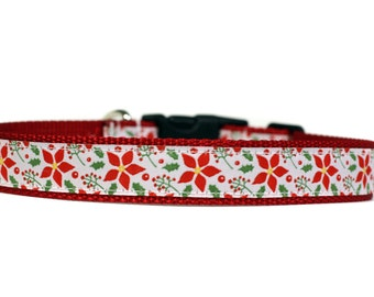 Holiday Collar Poinsetta 1 Inch Wide Dog Collar with Adjustable Buckle or Martingale