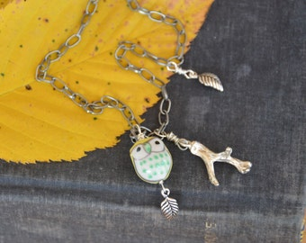 Owl and branch long charm necklace. Woodland animal, forest jewelry