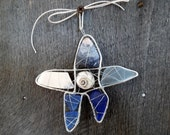 Blue and White Seaglass Star Suncatcher with  Beach Pottery and Shells