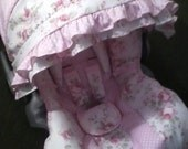 Shabby Chic with polka dots and ruffles..Infant Car Seat Cover