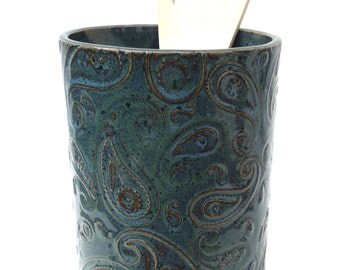 Blue/Green Textured Paisley Handmade Ceramic Pottery Utensil Holder Flower Vase