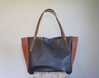 NEW//JOSEPHINE Tote in Slate Grey and Brown Leather with Antique Oil Tanned Leather Straps