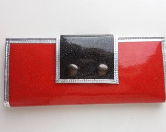 Women's wallet metalflake  vinyl red and black with clear ID slot