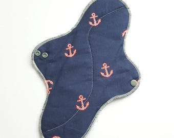Mama Cloth Pad /Menstrual Pads .. Heavy Flow Pad .. 12 inch Nautical Printed Flannel FREE Shipping