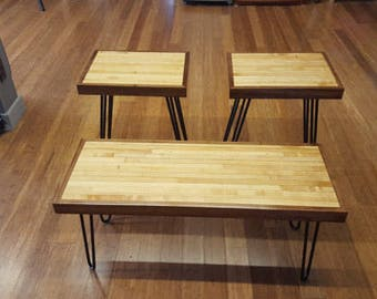 Coffee and Side or End Table Set made from Reclaimed Bowling Alley (Free Shipping)