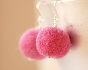 Felted Bead Earrings, Fibre Jewelry, Pink Felted Merino Wool and Sterling Silver - Fuzzy Sweater
