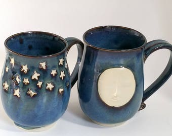 Blue 20 oz Mugs - Full Moon Face Night or Starry Night - Wheel Thrown and Altered Pottery