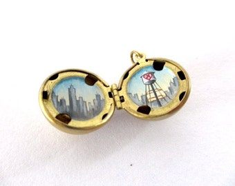 RESERVED for Suzanne - Tiny Hand-Painted NYC Skyline Locket