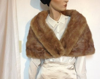 Mink Shrug Cape  Coat Vintage 60s size 8 to 10 to 12