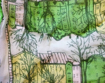 Vera Neumann Scarf SIlk Crepe Green Vera with Ladybug Scarf with Buildings Urban Architecture Brownstones