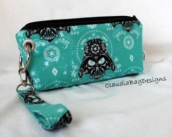 Zipper Pouch Clutch Wallet with Coin Pocket - Cell Phone - Errand Runner - Bag - Fabric Wallet - Wristlet - Darth Vader Turquoise Teal Pink
