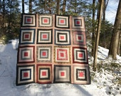 Vintage 1890s White House Steps Quilt Antique Vintage Rescue Queen Double Size Bed Historical Quilted Log Cabin Quilt Handmade Vintage Quilt