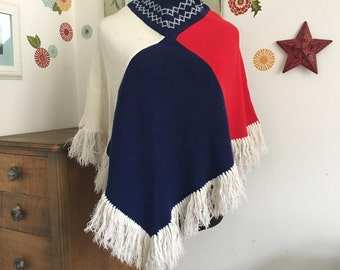 Vintage Poncho, Acrylic Red White and Blue Sweater Poncho, Hippie Style