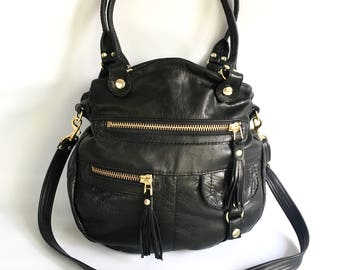 Okinawa leather bag in black