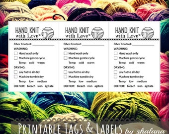 """Care Instruction Printable PDF Cards for Knitters - """"Hand Knit with Love"""" Labels or Tags for DIY Handmade Knitted Crafts"""